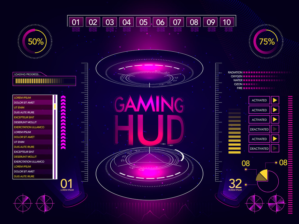 Gaming HUD Interface layout, Futuristic User Interface and Statistical Infographic element set, Abstract Virtual Business background with charts, graphs, web elements and rating symbols.