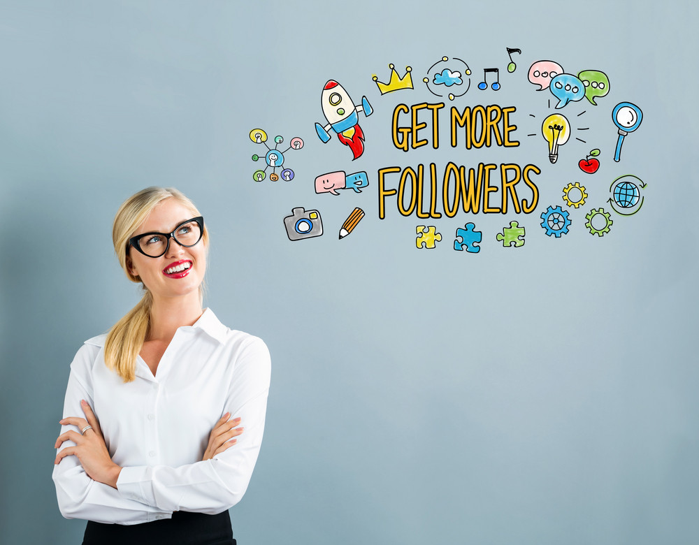 Get More Follwers text with business woman on a gray background