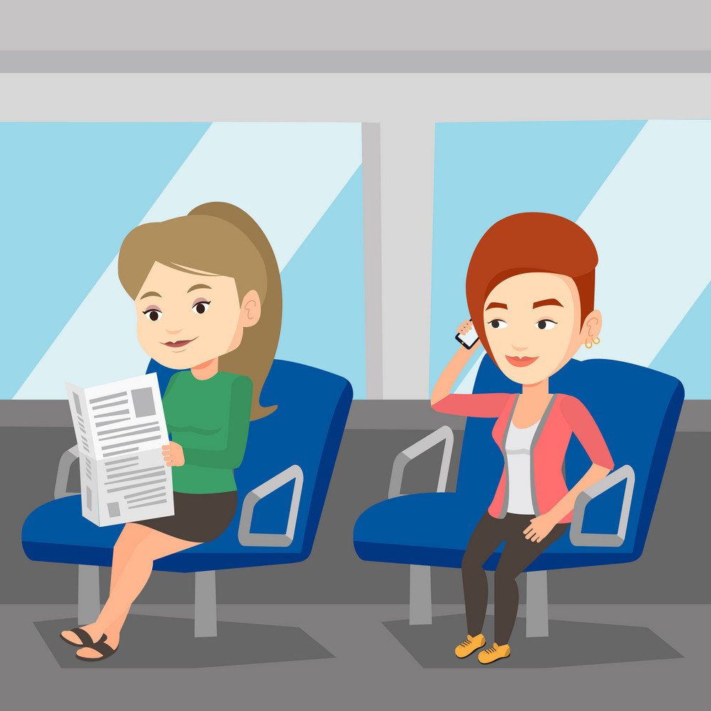 Girl using mobile phone while traveling by public transport. Caucasian woman reading newspaper in public transport. People traveling by public transport. Vector flat design illustration. Square layout