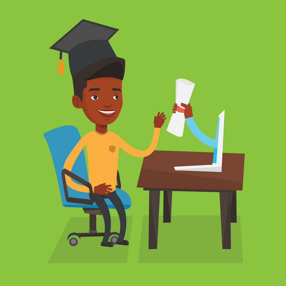 Graduate getting diploma from the computer. An african student in graduation cap working on computer. Concept of educational technology and graduation. Vector flat design illustration. Square layout.