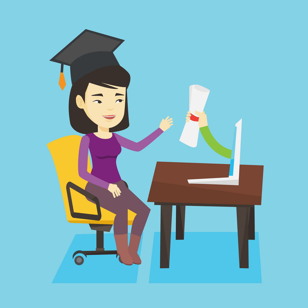 Graduate getting diploma from the computer. Happy student in graduation cap working on a computer. Concept of educational technology and graduation. Vector flat design illustration. Square layout.