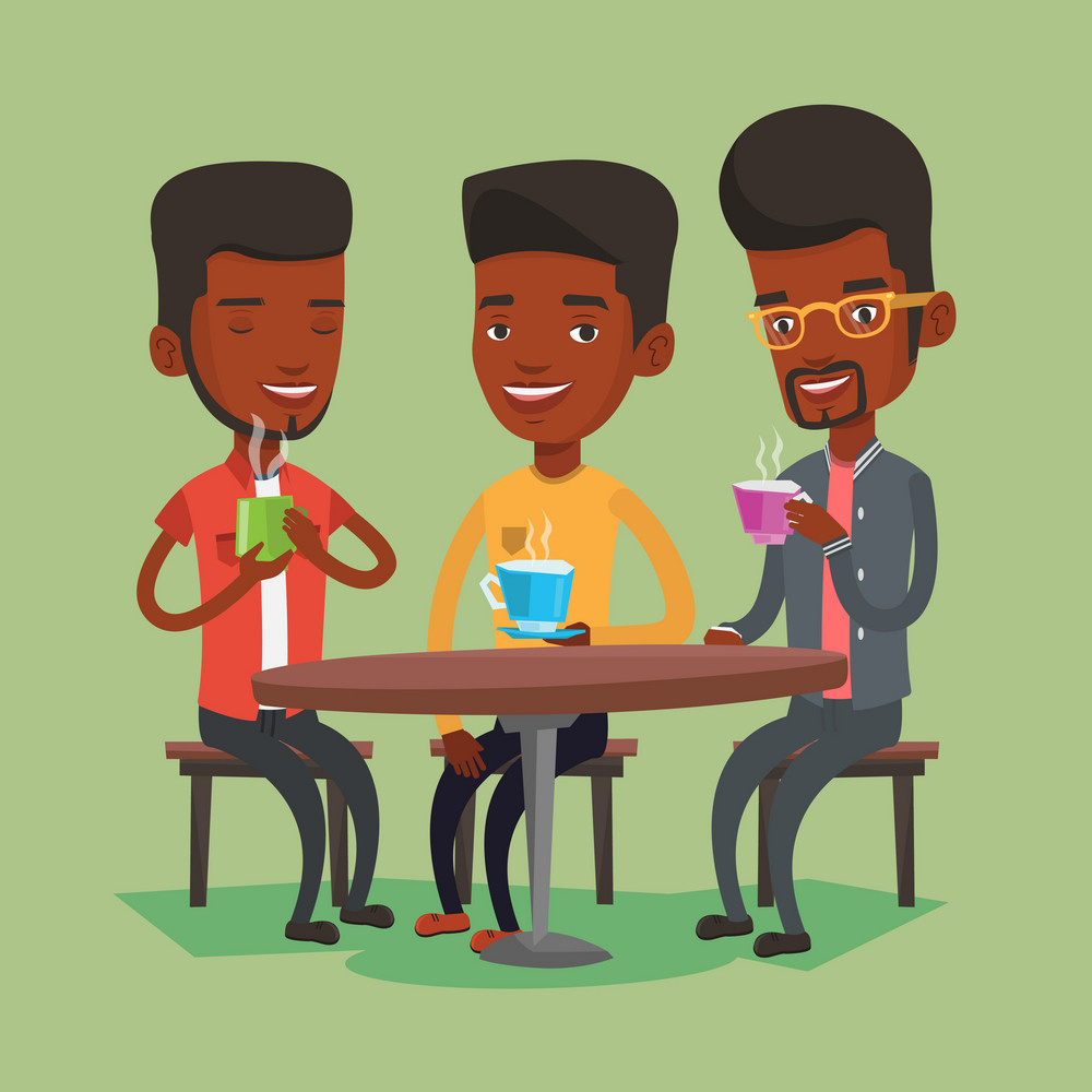 Group of african-american friends drinking hot and alcoholic drinks. Three smiling friends hanging out together in a cafe. Friends relaxing in cafe. Vector flat design illustration. Square layout.