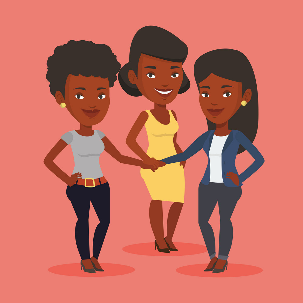 Group of african business women joining hands. Business people putting their hands together. Business women stacking their hands. Partnership concept. Vector flat design illustration. Square layout