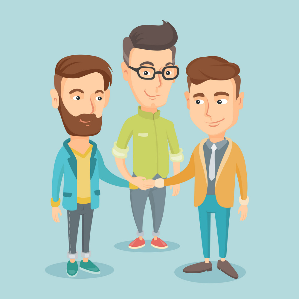 Group of business men joining hands. Caucasian business people putting their hands togethis. Business men stacking their hands. Partnership concept. Vector flat design illustration. Square layout.