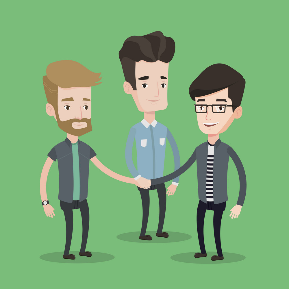 Group of businessmen joining hands. Business people putting their hands together. Business people stacking their hands. Concept of teamwork, partnership. Vector flat design illustration. Square layout