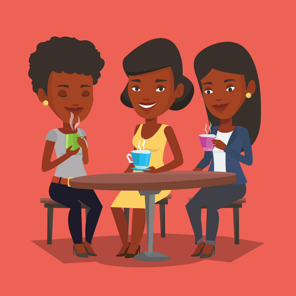 Group of young african-american friends drinking hot and alcoholic drinks. Three smiling friends hanging out together in cafe. Friends relaxing in cafe. Vector flat design illustration. Square layout.