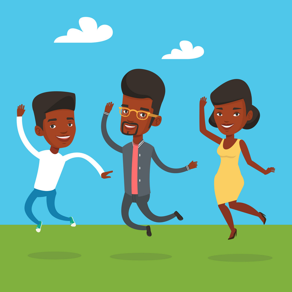 Group of young african-american friends jumping in the park. Group of cheerful friends having fun and jumping outdoors. Friendship and lifestyle concept. Vector flat design illustration. Square layout