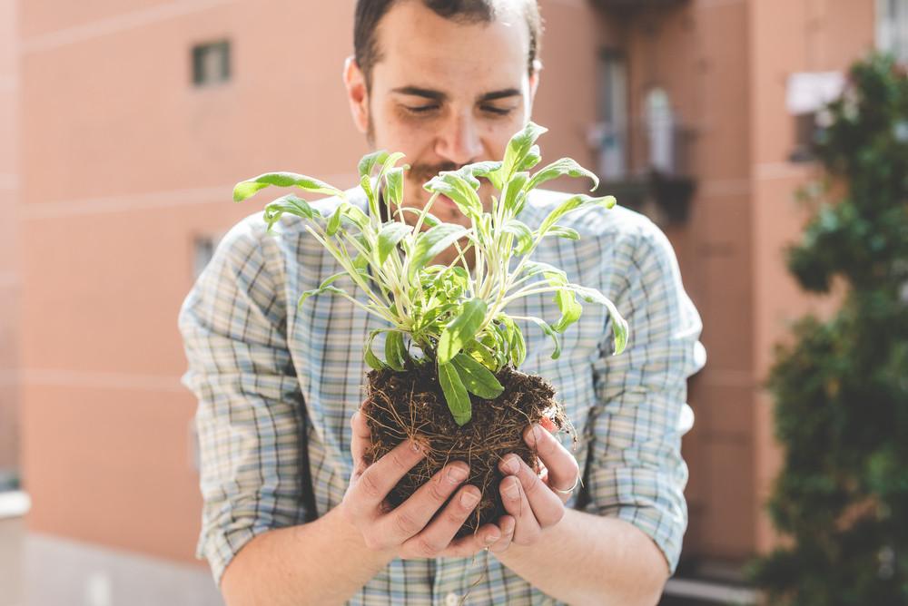 handsome stylish man gardening at home