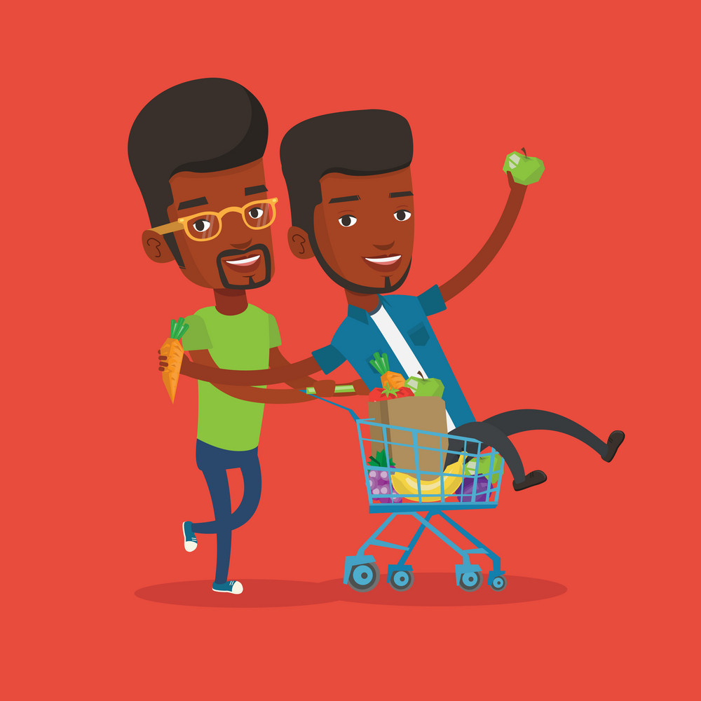 Happy african-american man pushing a shopping trolley with his friend. Two young carefree friends having fun while riding by shopping trolley. Vector flat design illustration. Square layout.