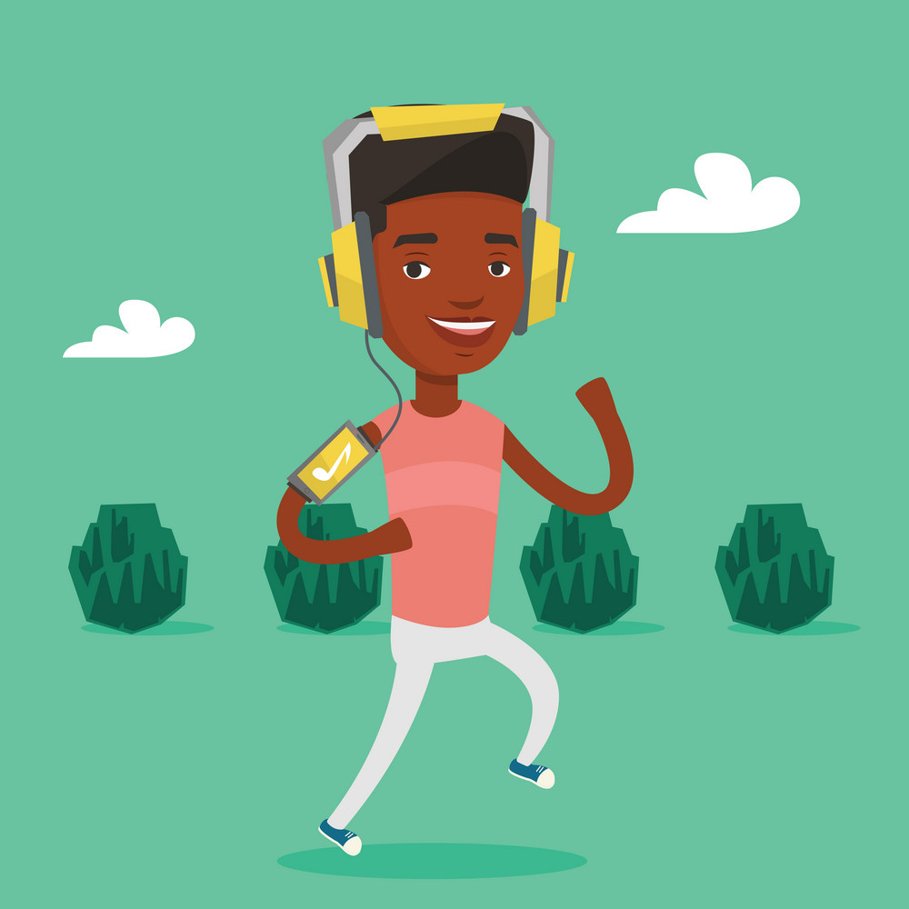 Happy african-american man running with earphones and armband for smartphone. Young man using armband for smartphone to listen to music during scamper. Vector flat design illustration. Square layout.