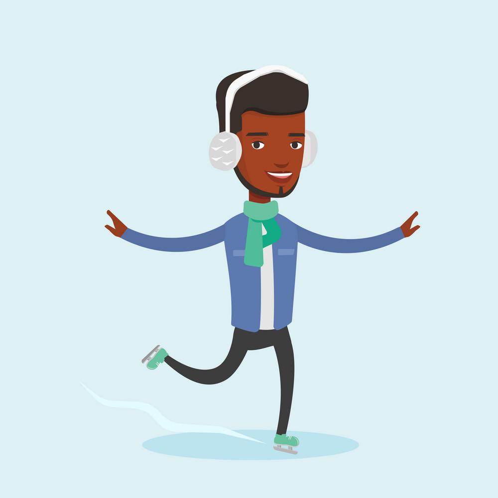 Happy african-american sportsman ice skating. Young smiling man ice skating. Young cheerful man at skating rink. Male figure skater posing on skates. Vector flat design illustration. Square layout.