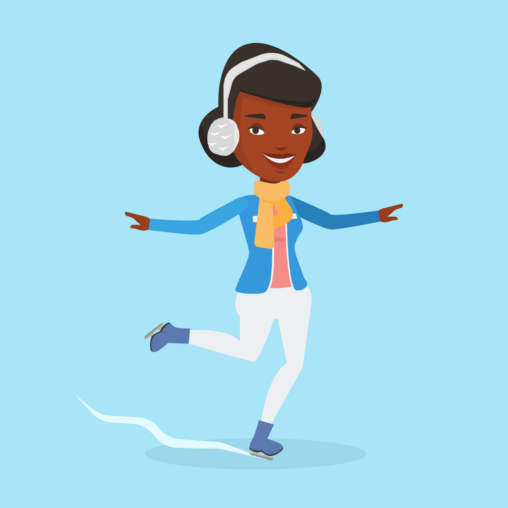 Happy african-american sportswoman ice skating. Smiling woman ice skating. Young cheerful woman at skating rink. Female figure skater posing on skates. Vector flat design illustration. Square layout.