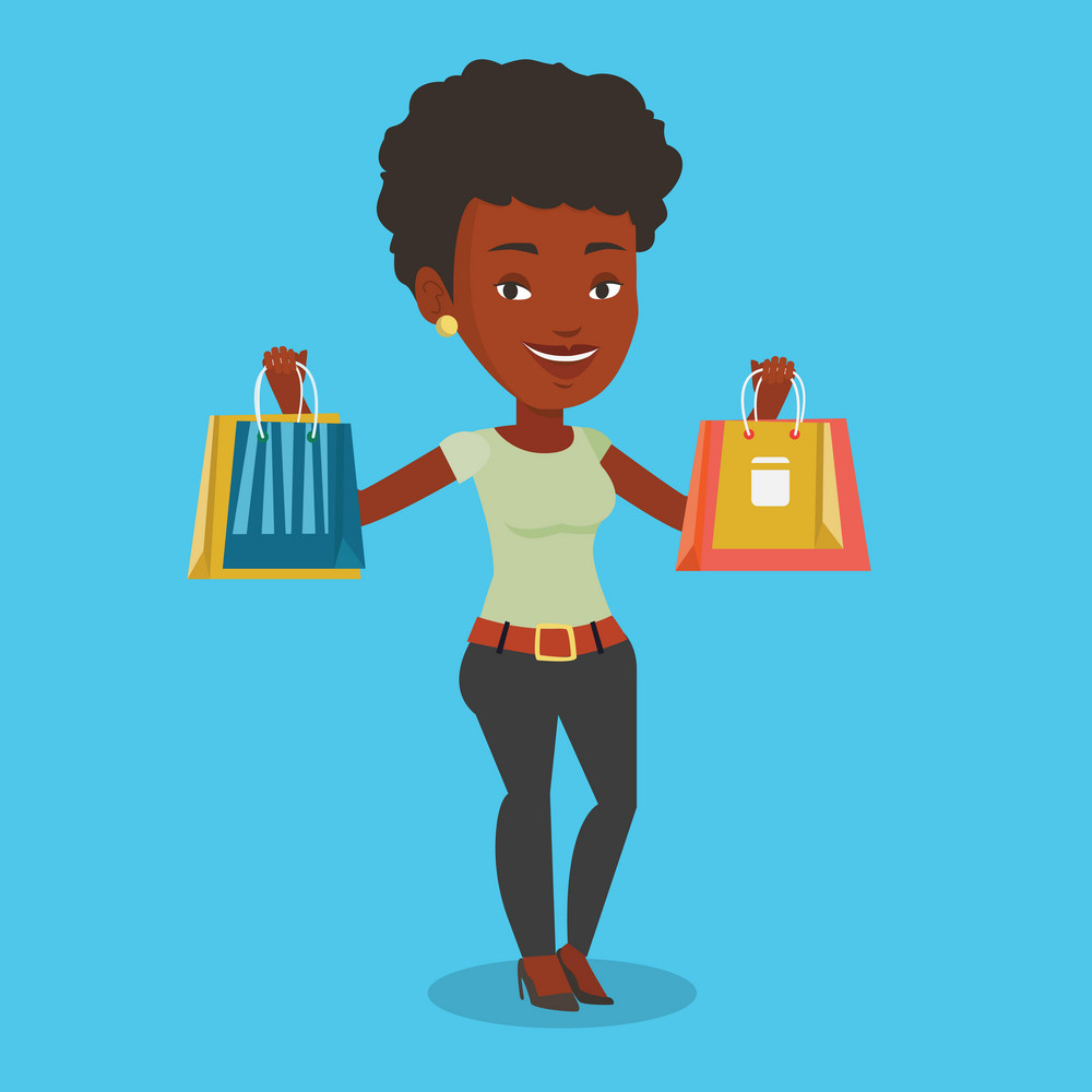 Happy african-american woman carrying shopping bags. Woman holding shopping bags. Girl standing with a lot of shopping bags. Girl showing her purchases. Vector flat design illustration. Square layout