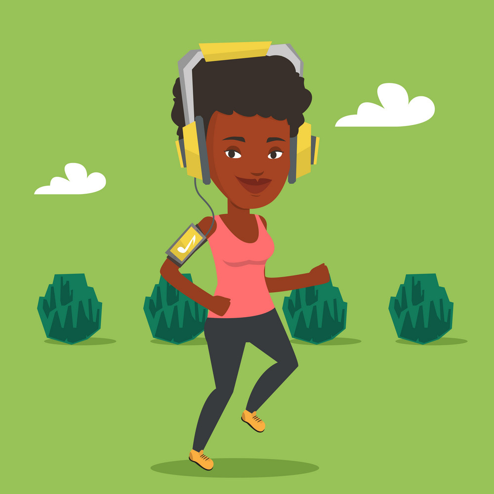 Happy african-american woman running with earphones and armband for smartphone. Woman using armband for smartphone to listen to music during scamper. Vector flat design illustration. Square layout.