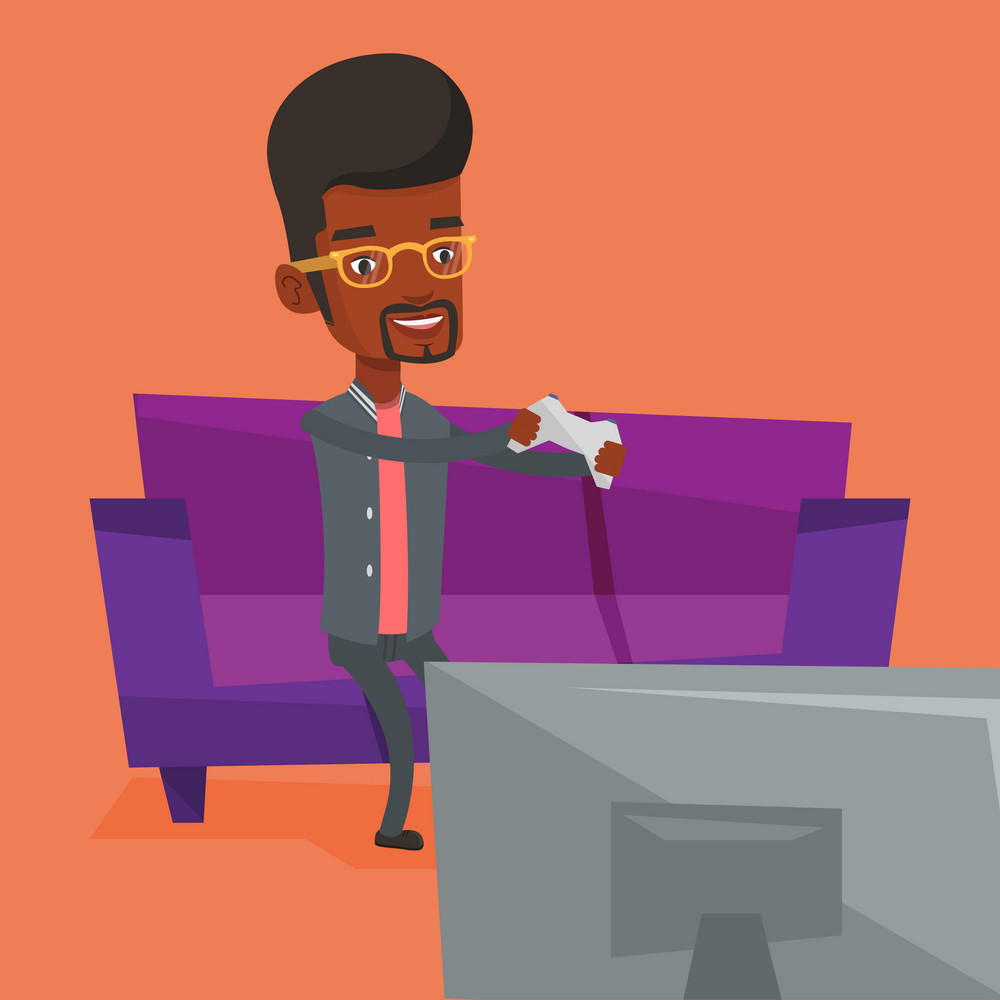 Happy african gamer sitting on a sofa and playing video game on the television. An excited young man with console in hands playing video game at home. Vector flat design illustration. Square layout.