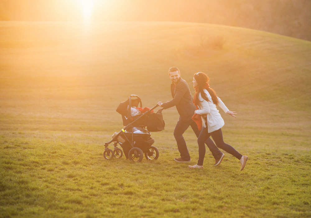 Happy and young family with pram during the walk in nature