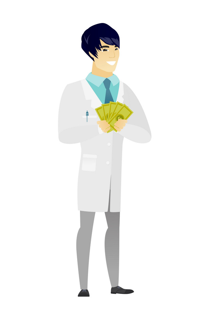 Happy asian doctor in medical gown holding money. Excited doctor standing with money in hands. Full length of smiling doctor with money. Vector flat design illustration isolated on white background.