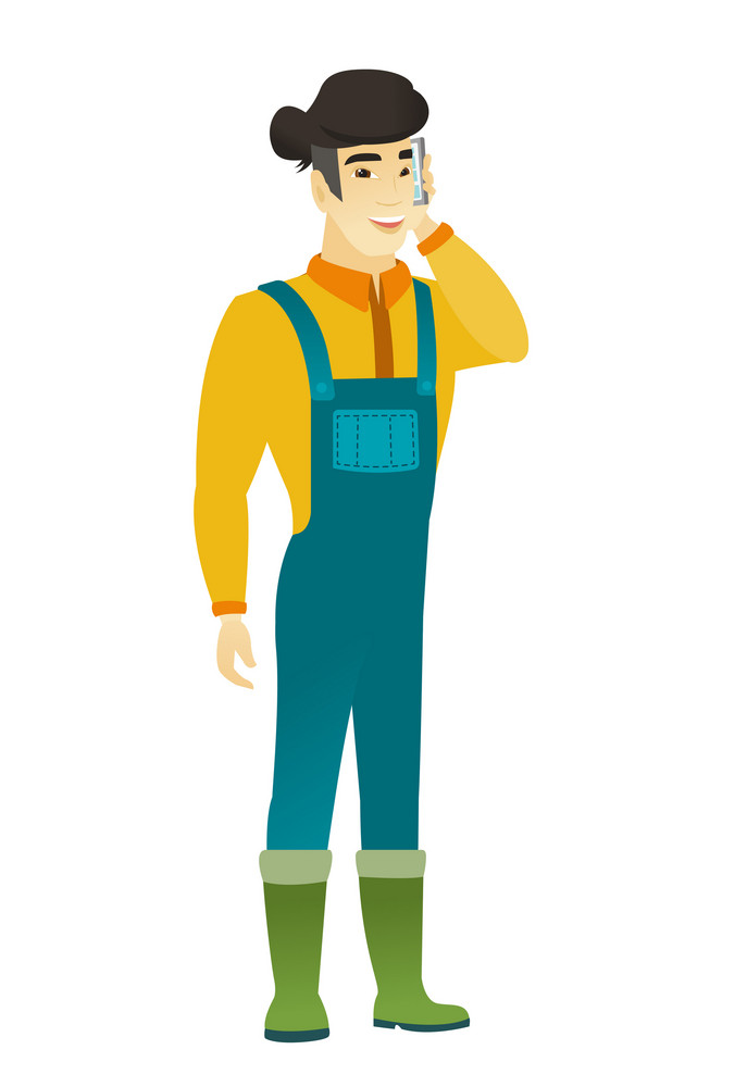 Happy asian farmer in coveralls talking on a mobile phone. Smiling farmer talking on a cell phone. Young farmer with a mobile phone. Vector flat design illustration isolated on white background.