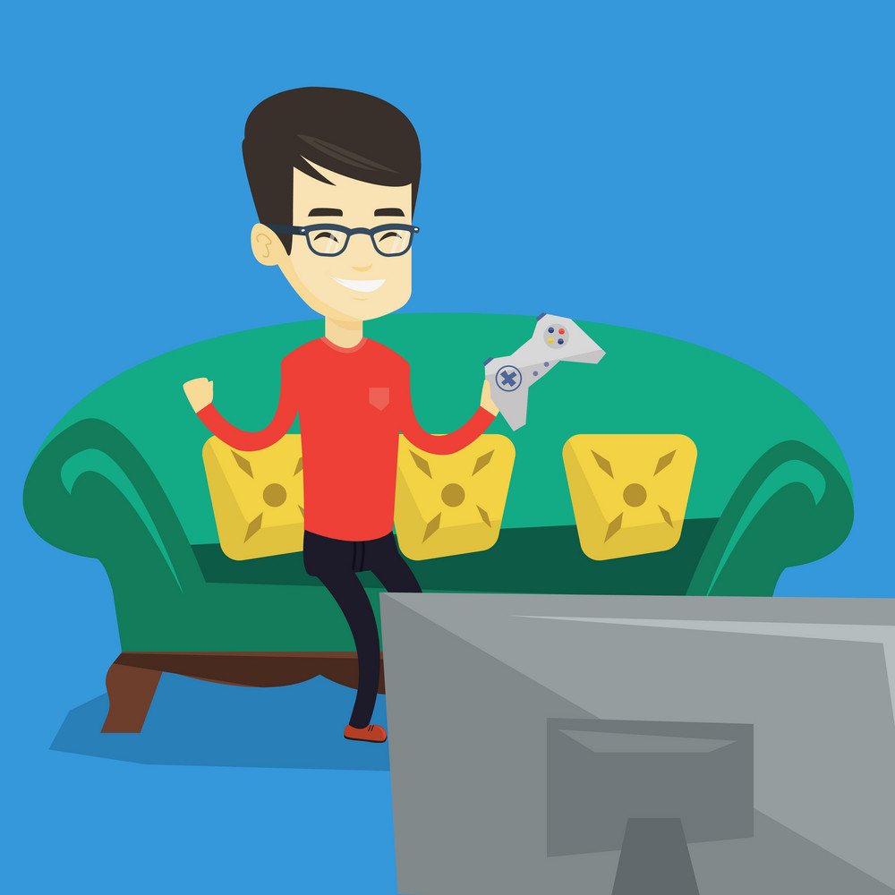 Happy asian gamer playing video game. Excited young man with console in hands playing video game at home. Man celebrating his victory in video game. Vector flat design illustration. Square layout.