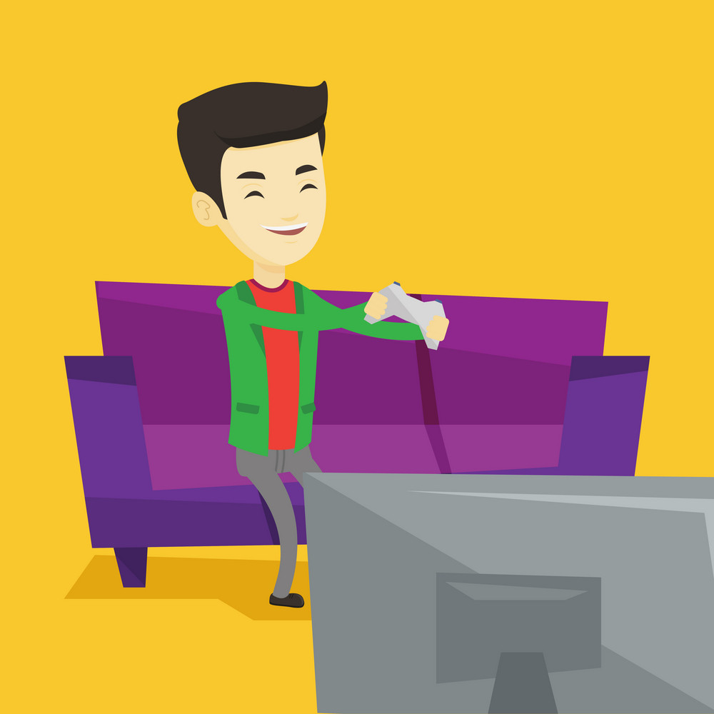 Happy asian gamer sitting on a sofa and playing video game on the television. An excited young man with console in hands playing video game at home. Vector flat design illustration. Square layout.