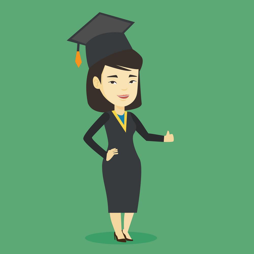 Happy asian graduate in cloak and graduation cap. Successful graduate giving thumb up. Joyful graduate celebrating graduation. Concept of education. Vector flat design illustration. Square layout.