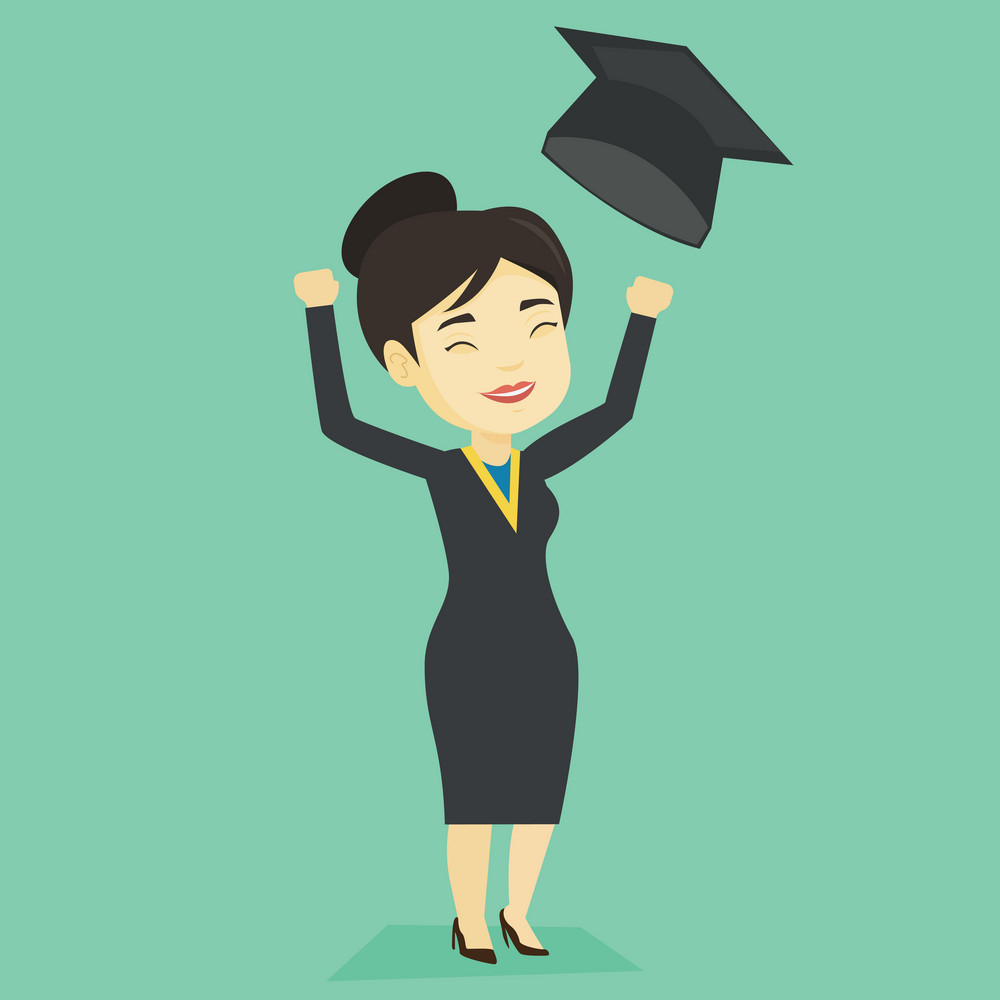 Happy asian graduate throwing up her hat. Excited graduate in cloak and graduation hat. Cheerful graduate with hands raised celebrating graduation. Vector flat design illustration. Square layout.