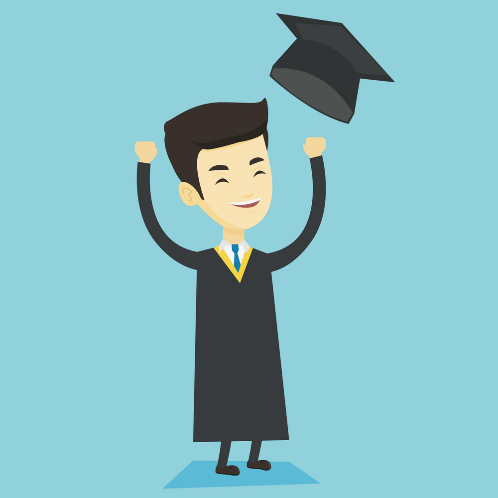 Happy asian graduate throwing up his hat. Excited graduate in cloak and graduation hat. Cheerful graduate with hands raised celebrating graduation. Vector flat design illustration. Square layout.