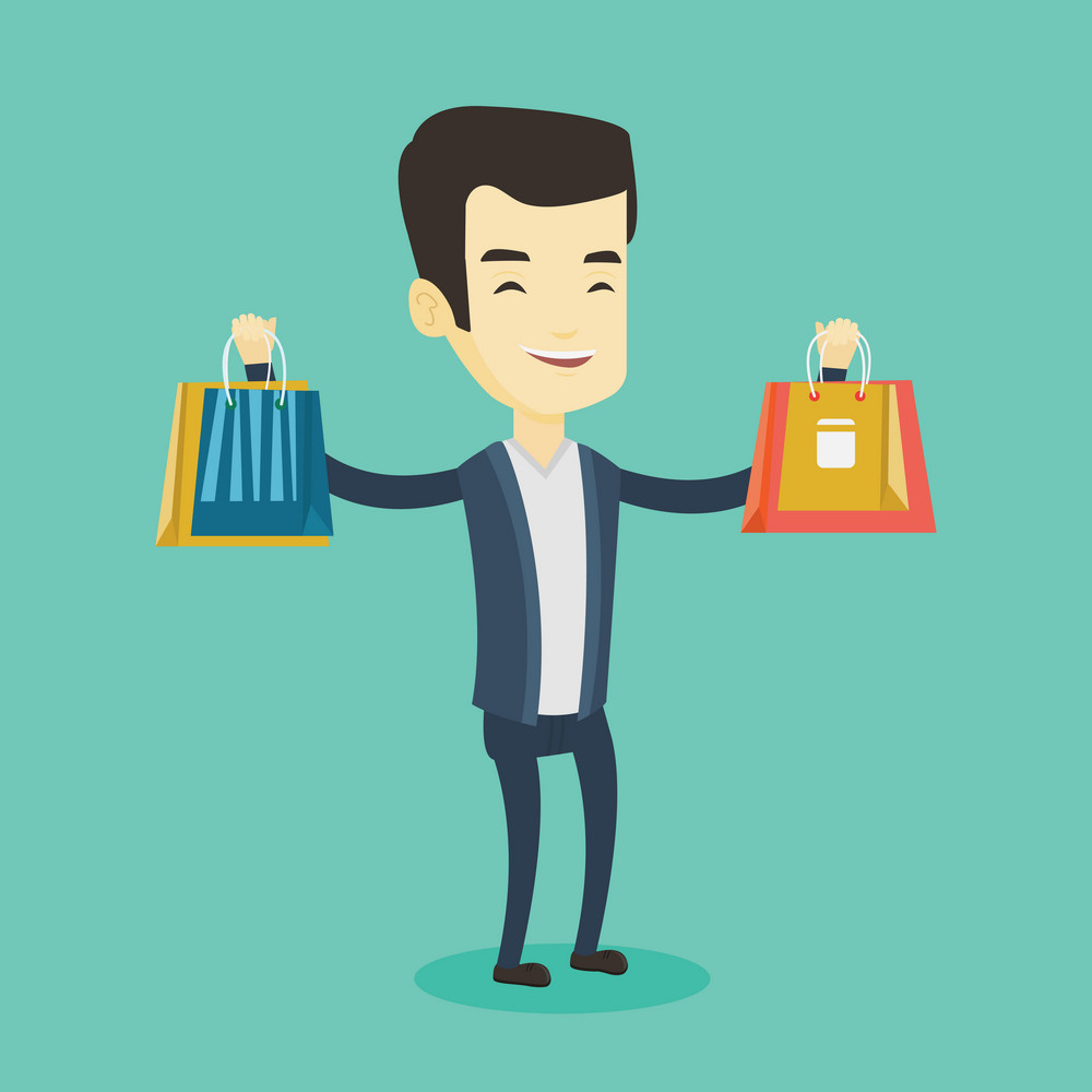Happy asian man carrying shopping bags. Smiling man holding shopping bags. Man standing with a lot of shopping bags. Guy showing his purchases. Vector flat design illustration. Square layout.