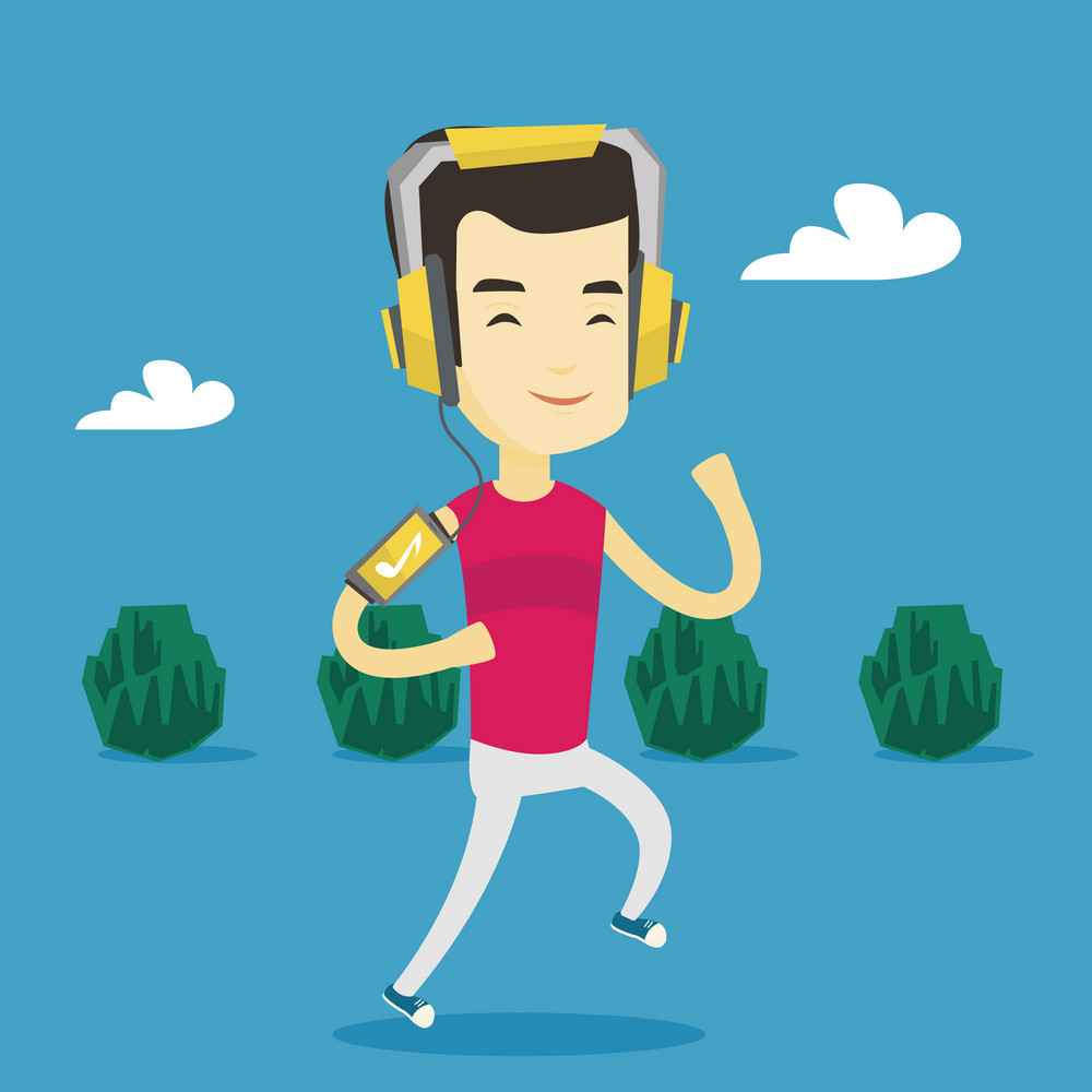 Happy asian man running with earphones and armband for smartphone. Young man using armband for smartphone to listen to music while running in the park. Vector flat design illustration. Square layout.
