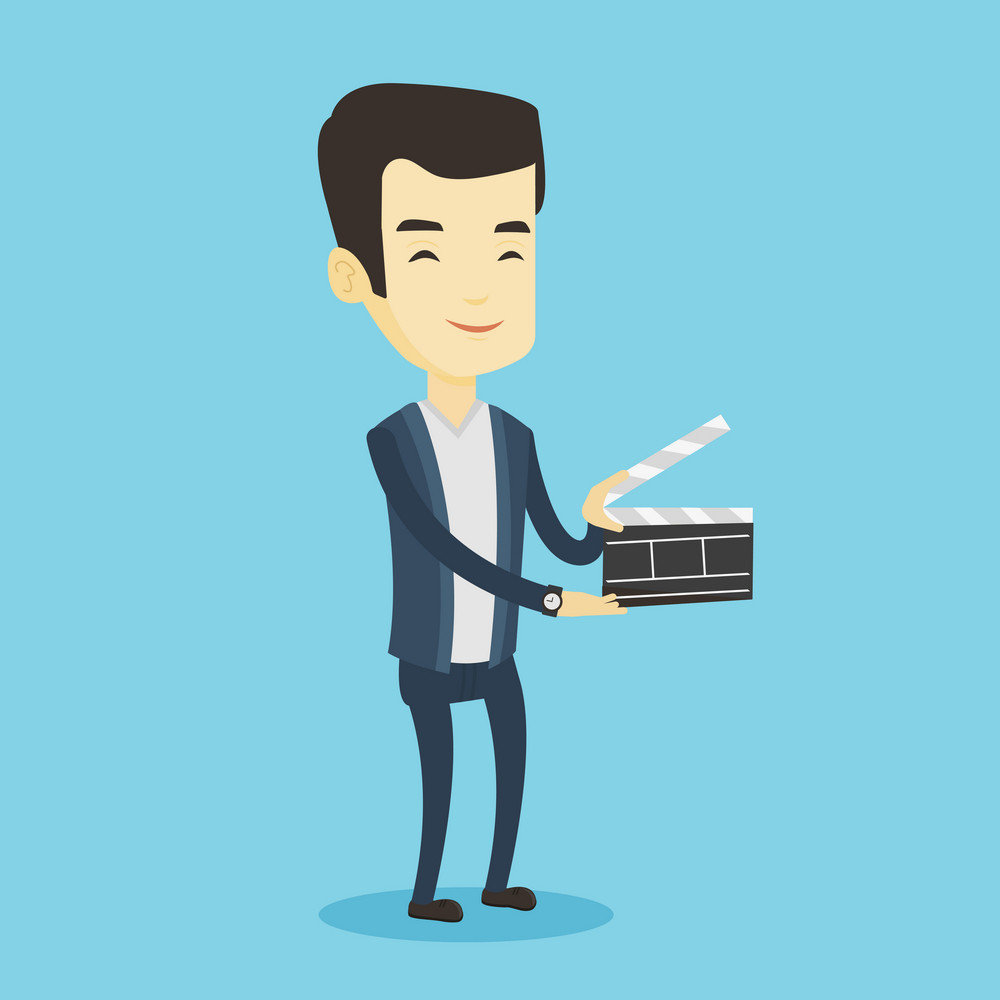 Happy asian man working with a clapperboard. Smiling man holding an open clapperboard. Cheerful man holding blank movie clapperboard. Vector flat design illustration. Square layout.