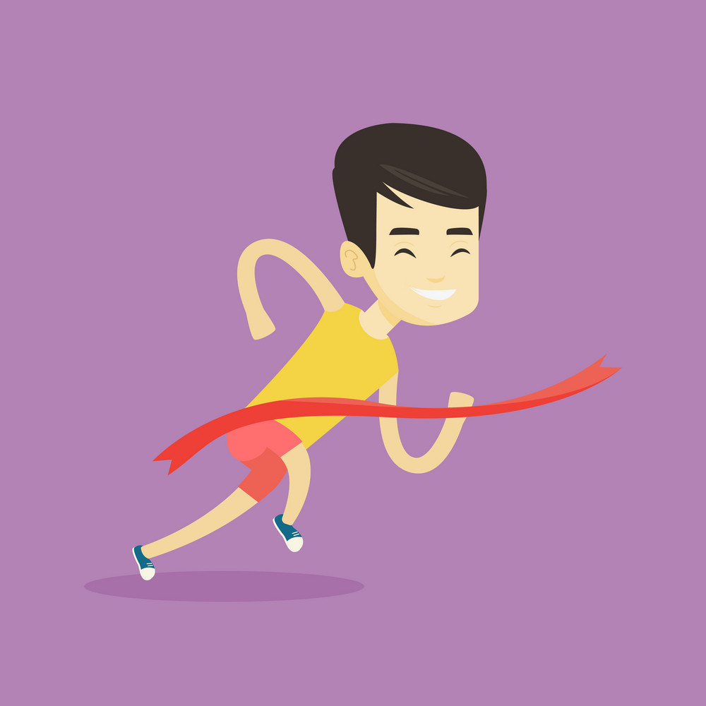 Happy asian sportsman running through the finish line. Young cheerful winner crossing the finish line. Sprinter breaking the finish line. Vector flat design illustration. Square layout.