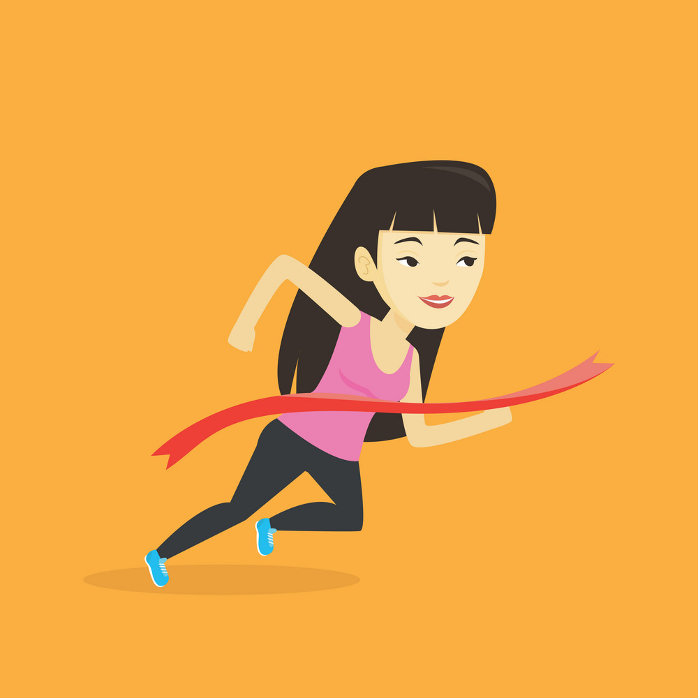 Happy asian sportswoman running through the finish line. Young cheerful winner crossing the finish line. Sprinter breaking the finish line. Vector flat design illustration. Square layout.