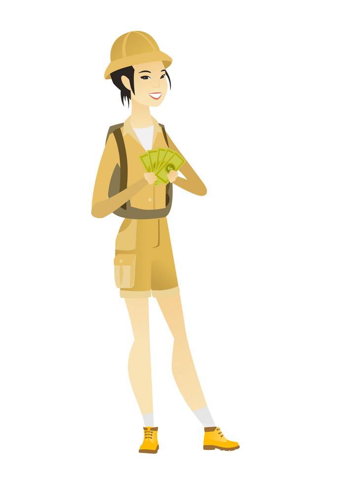 Happy asian traveler holding money. Excited traveler standing with money in hands. Full length of smiling female traveler with money. Vector flat design illustration isolated on white background.