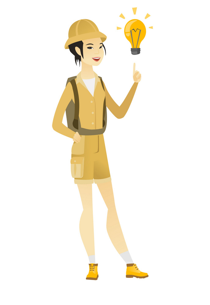 Happy asian traveler pointing at bright idea light bulb. Full length of young traveler having a creative idea. Successful idea concept. Vector flat design illustration isolated on white background.