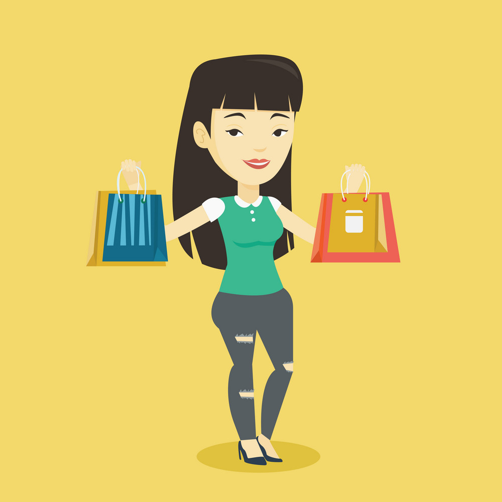 Happy asian woman carrying shopping bags. Smiling woman holding shopping bags. Girl standing with a lot of shopping bags. Girl showing her purchases. Vector flat design illustration. Square layout