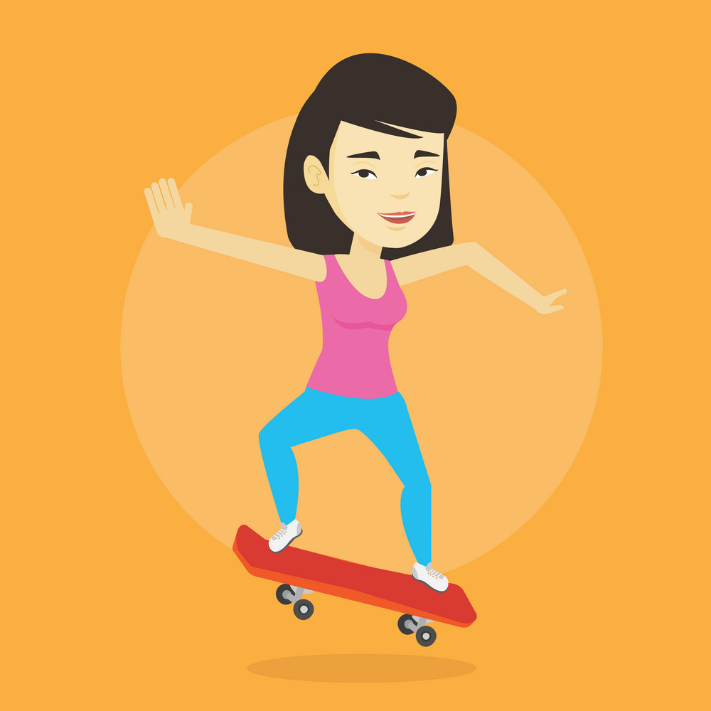 Happy asian woman skateboarding. Smiling woman riding a skateboard. Young skater riding a skateboard. Woman jumping with skateboard. Vector flat design illustration. Square layout.