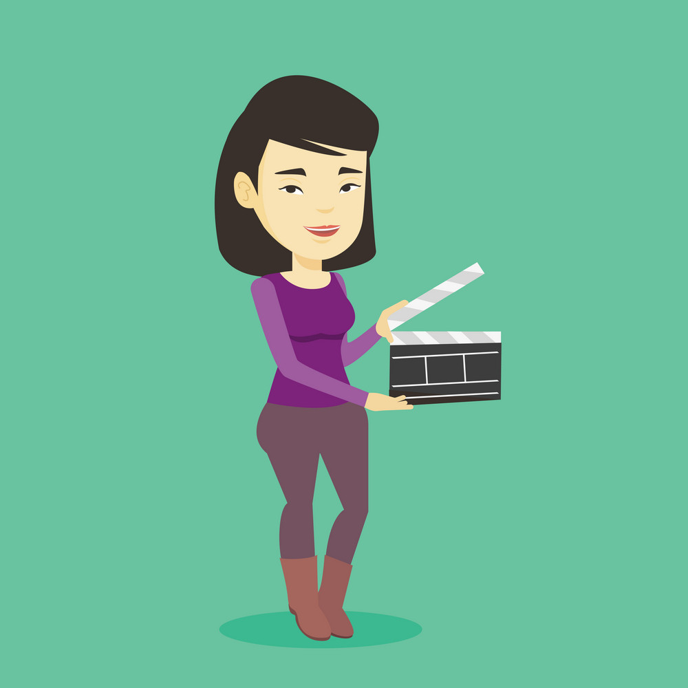 Happy asian woman working with a clapperboard. Smiling woman holding an open clapperboard. Cheerful woman holding blank movie clapperboard. Vector flat design illustration. Square layout.