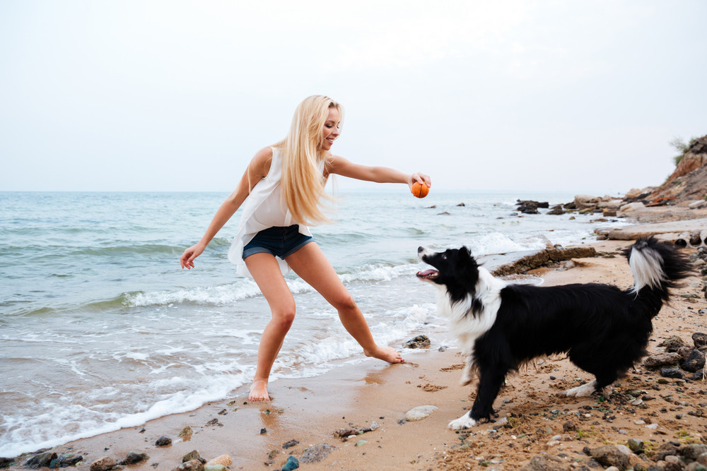 Happy attractive young woman playing with dog and having fun on the beach