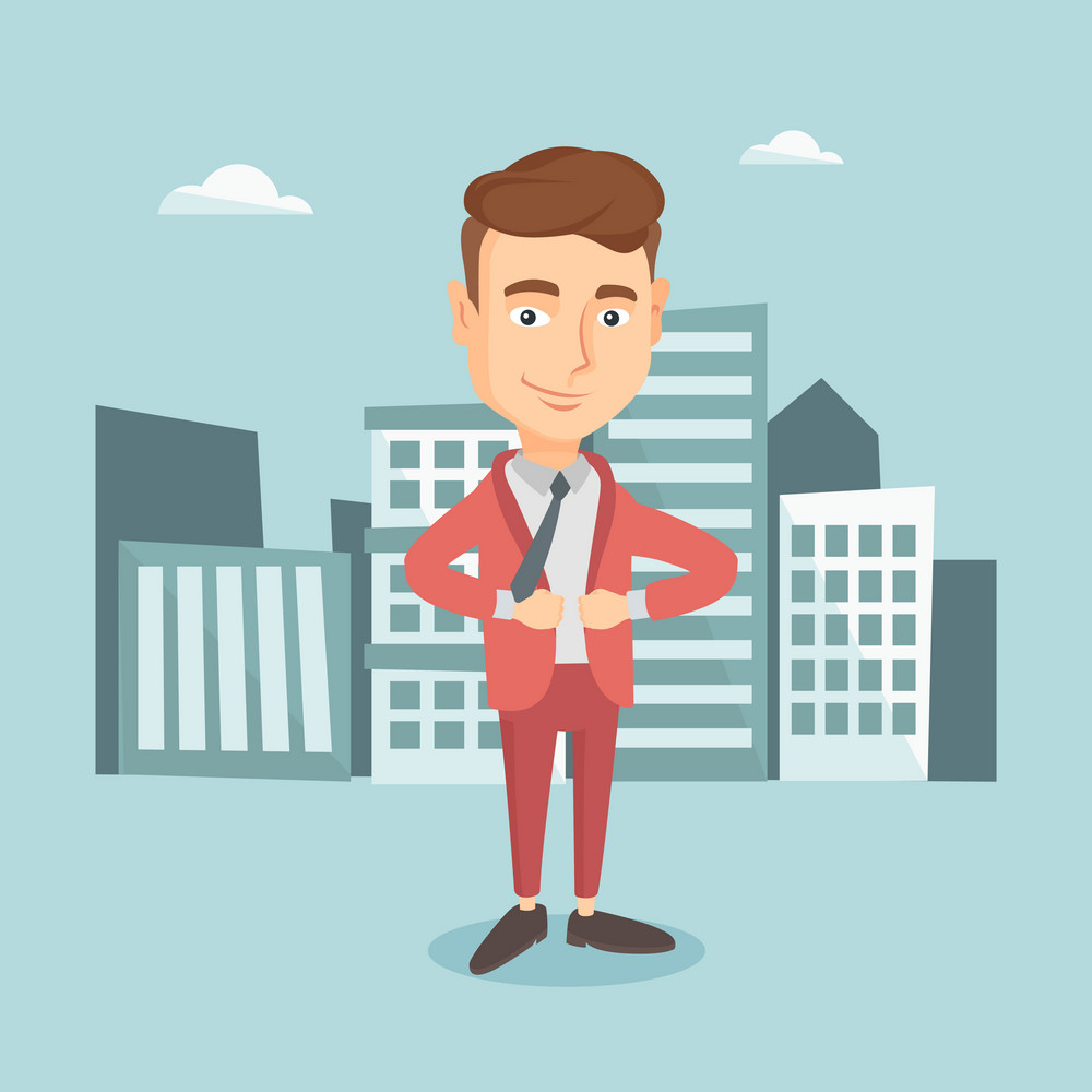 Happy business man opening his jacket like superhero. Caucasian business man superhero. Young business man taking off his jacket like superhero. Vector flat design illustration. Square layout.