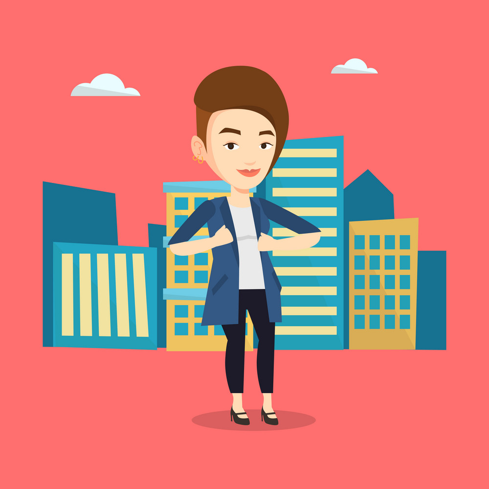 Happy business woman opening her jacket like superhero. Caucasian business woman superhero. Young business woman taking off her jacket like superhero. Vector flat design illustration. Square layout.