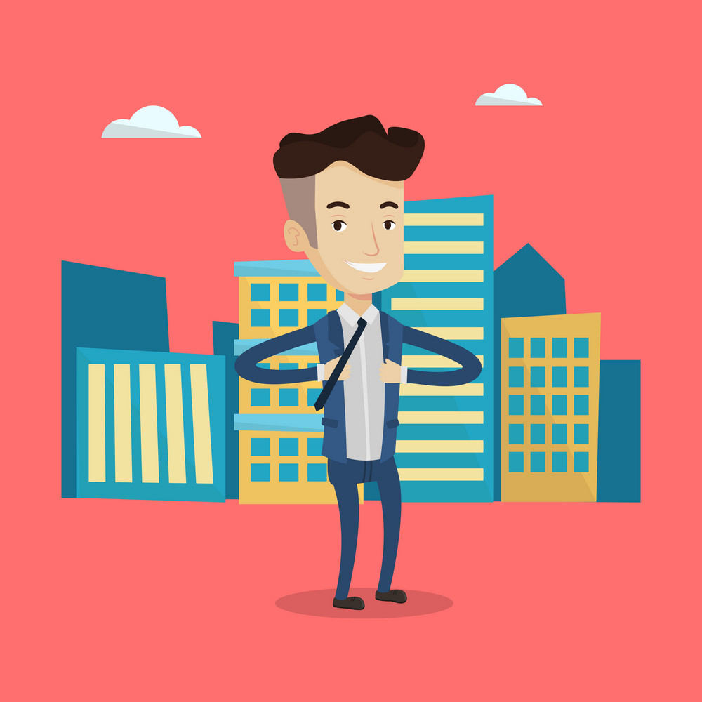 Happy businessman opening his jacket like superhero on the background of modern city. Businessman superhero. Concept of power of a businessman. Vector flat design illustration. Square layout.