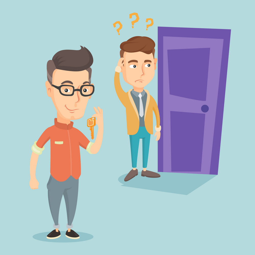 Happy caucasian business man showing key on the background of young man looking at door. Concept of making the right decision in business. Vector flat design illustration. Square layout.