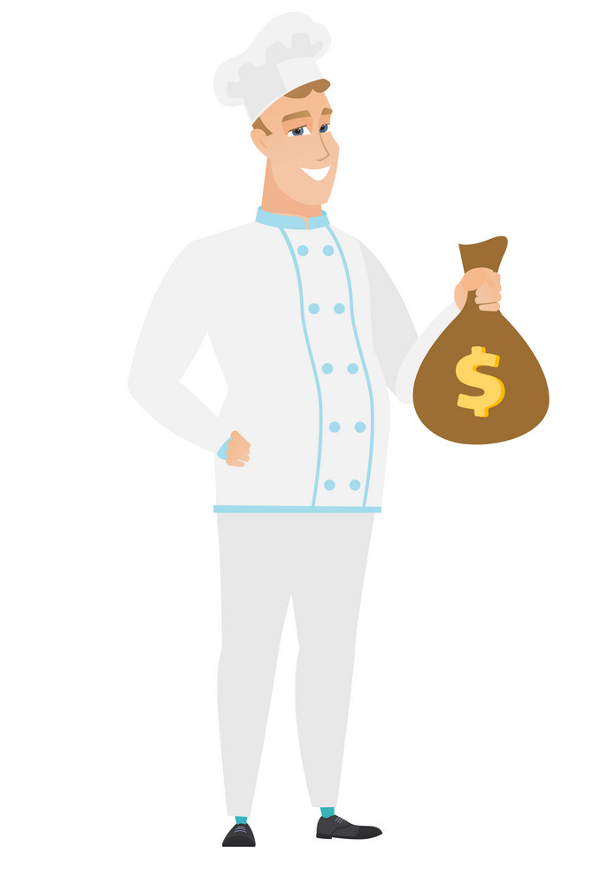 Happy caucasian chef cook showing money bag with dollar sign. Full length of young chef cook with money bag. Chef cook holding money bag. Vector flat design illustration isolated on white background.