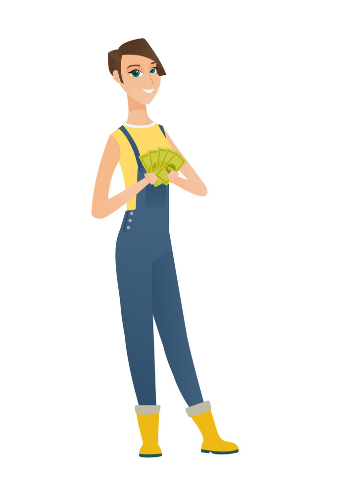 Happy caucasian farmer in coveralls holding money. Excited farmer standing with money in hands. Full length of smiling farmer with money. Vector flat design illustration isolated on white background.