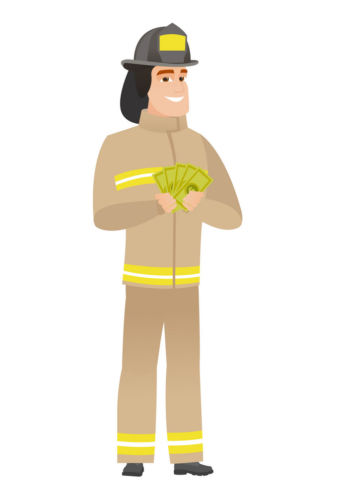 Happy caucasian firefighter holding money. Excited firefighter standing with money in hands. Full length of smiling firefighter with money. Vector flat design illustration isolated on white background