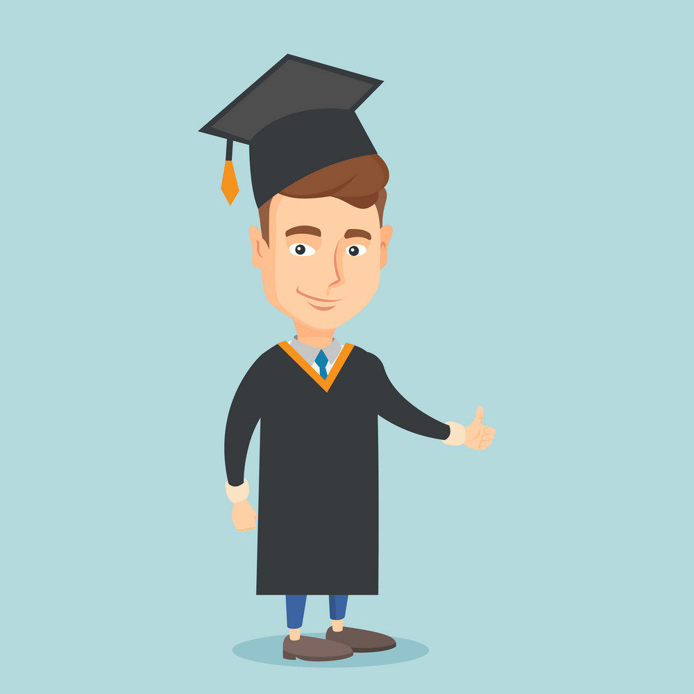 Happy caucasian graduate in cloak and graduation cap. Successful graduate giving thumb up. Joyful graduate celebrating graduation. Concept of education. Vector flat design illustration. Square layout.