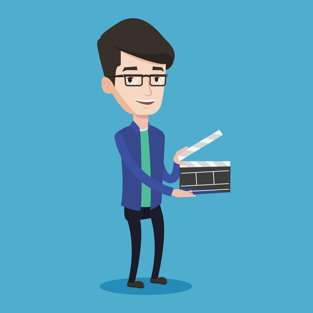 Happy caucasian man holding camera slate for the filming. Smiling man holding an open clapperboard. Cheerful man holding blank movie clapperboard. Vector flat design illustration. Square layout.