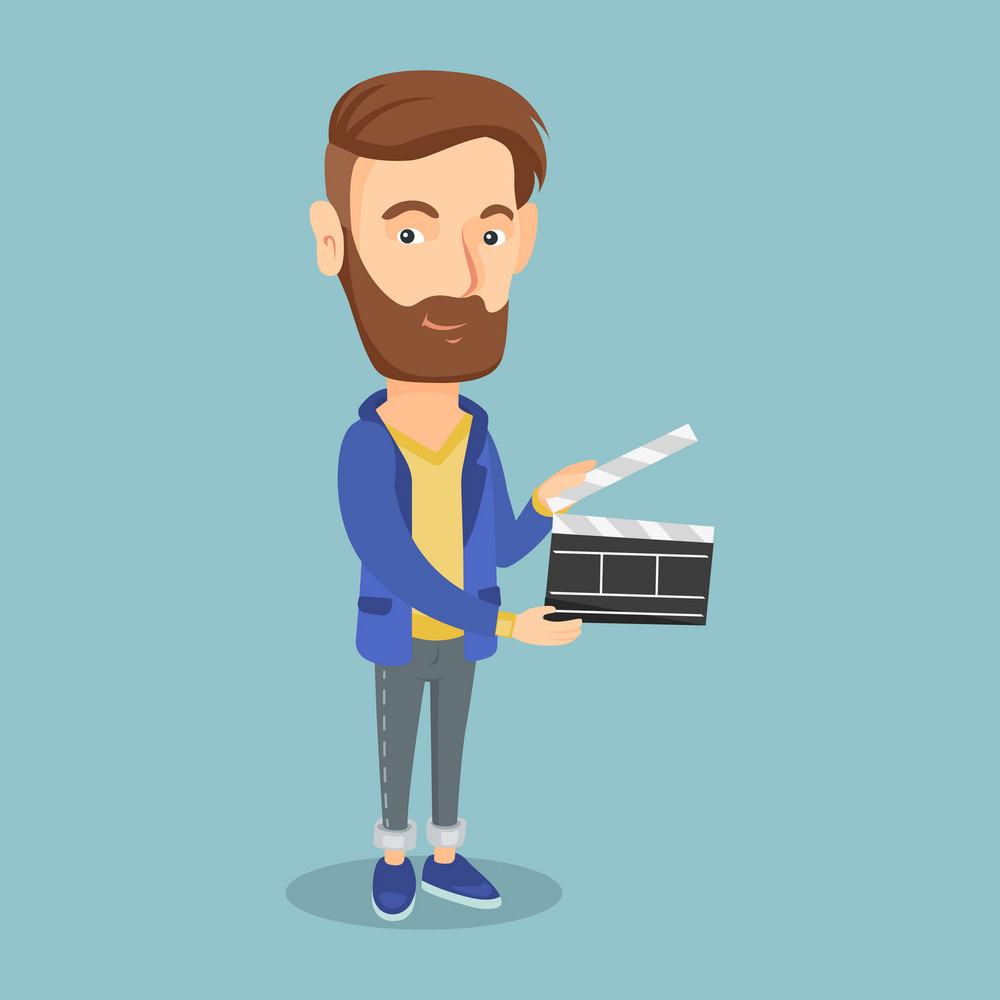 Happy caucasian man working with a clapperboard. Smiling hipster man holding an open clapperboard. Cheerful man holding blank movie clapperboard. Vector flat design illustration. Square layout.