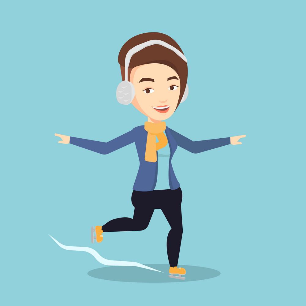 Happy caucasian sportswoman ice skating. Young smiling woman ice skating. Young cheerful woman at skating rink. Female figure skater posing on skates. Vector flat design illustration. Square layout.