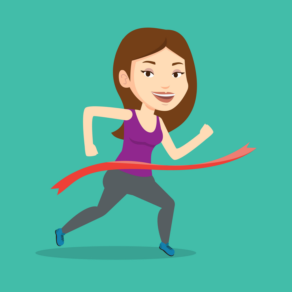Happy caucasian sportswoman running through finishing line. Cheerful winner crossing finish line. Sprinter breaking the tape. Woman winning marathon. Vector flat design illustration. Square layout.